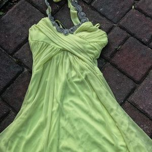 Very fancy neon yellow, low high prom/formal dress